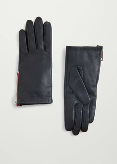 Zip leather gloves - Hats and gloves for Woman | MANGO United Kingdom