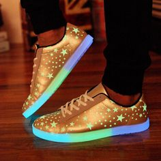 Man woman couple lovers sneakers Emitting Luminous light up for adults PU Leather LED Lace-up Stars Sport run Canvas Shoes EW117