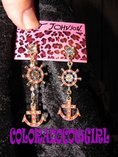 'Betsey Johnson Anchor & Rudder Bling Hanging Earrings' is going up for auction at  6pm Thu, Aug 8 with a starting bid of $8.
