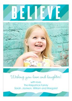 Believe Blue Stripes Photo Card from Peppermint Prints