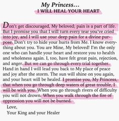 my princess you are my true beauty, I will heal your heart Prayer Scriptures, Bible Verses Quotes, Faith Quotes, Calm Quotes, Gods Princess, My Princess Quotes, Royal Princess, Daughter Of God, Mo S