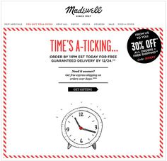 madewel. holiday shipping times email. simple clean email design. email marketing.
