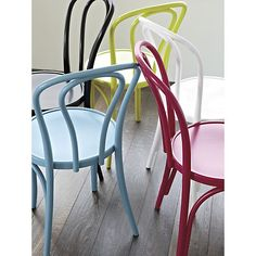 Vienna Apple Side Chair in Dining Chairs | Crate and Barrel -- For dining chairs ... not sure how comfortable, but I like the colors