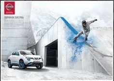 Nissan Juke: Personalise Your Thrill New Nissan, Nissan Juke, Car Photographers, Marketing, Extreme Sports, Urban Landscape, City Streets, Snowboarding, Advertising
