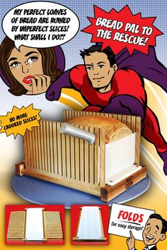 10%Off. Use code Pinterest10 Now.         Foldable Bread Slicer. Cuts 2 sizes and  stores flat. Check it out!  Foolproof Slicing made easy. Made in USA