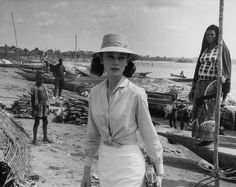 """Audrey Hepburn in the Belgium Congo during the filming of """"The Nun's Story"""" Photo by Sanford Roth Audrey Hepburn Photos, Audrey Hepburn Style, Golden Age Of Hollywood, Vintage Hollywood, The Nun's Story, Belgian Congo, Roman Holiday, My Idol, Panama Hat"""