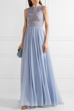 Zuhair Murad - Embellished Silk-blend Tulle And Georgette Gown - Lilac - IT