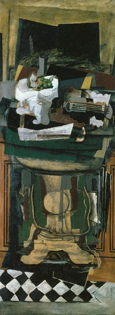 Guitar and Still Life on a Guéridon  |  1922  |  Georges Braque (French)  |  Oil with sand on canvas