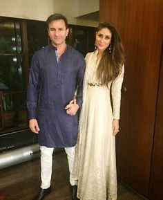 kareena kapoor khan with hubby saif ali khan for diwali bash in VARUN BAHL Diwali Fashion, Bollywood Fashion, Indian Fashion, Bollywood Style, Men Fashion, Bollywood Couples, Bollywood Celebrities, Indian Dresses, Indian Outfits