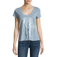 Zadig & Voltaire Metallic Butterfly Skull Slub Tee ($98) ❤ liked on Polyvore featuring tops, t-shirts, blue, short sleeve pullover, skull tee, sweater pullover, cotton tee and short sleeve tee