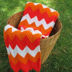 Crochet Blanket Throw Bold Orange Chevron Pattern by FortuneCrafts, $69.00 Etsy