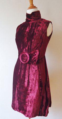 Vintage 1960s Mod Burgundy Velvet Sleeveless by theblackcatcloset, $57.00