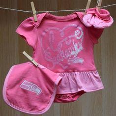 Seahawks Baby Fanatic Onesie Bib Booties - Pink