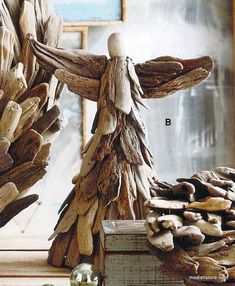 Roost Driftwood Standing Angel - Set Of 2