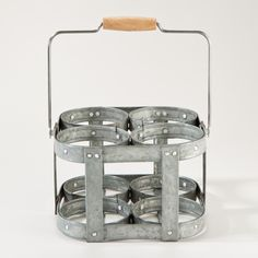 4-Section Galvanized Caddy - this would be a neat organizer for non-food related stuff... like paintbrushes?