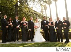 This wedding party looked so classy in their black bridesmaid dresses and black tuxes! #Vizcaya #Sacramento #Pink #Roses #Black #WinterWedding #Drozian #Photoworks