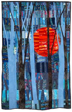 Blue Blaze II by Helen Howes. Contemporary Quilt.  2012 Festival of Quilts (UK).
