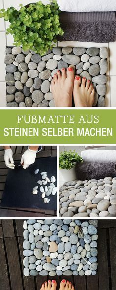 DIY-Anleitung: Fußmatte aus Steinen selbst machen, Deine Badezimmerdeko / DIY t. DIY instructions: do it yourself from stones, your bathroom decoration / DIY tutorial: crafting a flor mat of stones, Diy Bathroom Decor, Diy Home Decor, Decor Crafts, Bathroom Ideas, Restroom Decoration, Bathroom Mat, Diy 2019, Stone Bathroom, Ideias Diy