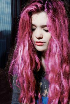 pink purple hair ,so beautiful curl hair