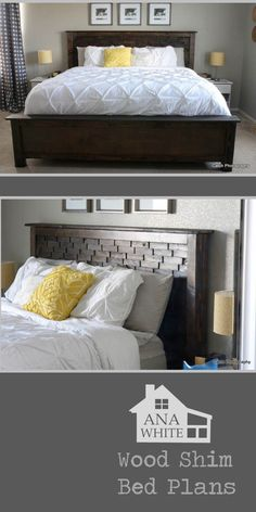 DIY Wood Shim Bed - full plans - Queen size. From Ana-White.com
