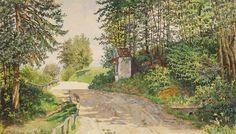 Ernestine von Kirchsberg (Austrian, 1857 - Forest with wayside shrine Walking Paths, Pathways, Painters, Women, Paths, Woman