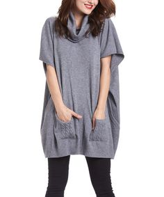 Another great find on #zulily! Gray Cowl Neck Swing Tunic #zulilyfinds