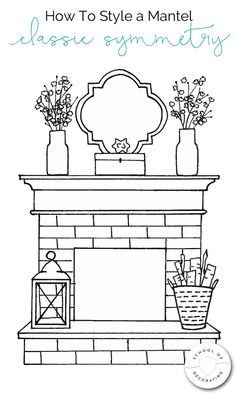 Learn how to style a mantel four ways - Classic Symmetry, Balanced Asymmetry, Cl. - Learn how to style a mantel four ways – Classic Symmetry, Balanced Asymmetry, Clustered Collection - Home Fireplace, Fireplace Design, Fireplaces, Fall Fireplace Decor, Farmhouse Fireplace, Faux Fireplace, Mantle Styling, Living Comedor, Living Room Inspiration