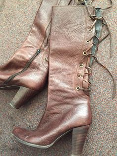 Victorian-style JIGSAW Brown Leather Lace Boots (39/6) #Jigsaw