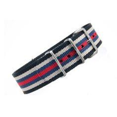 Bracelet nylon NATO Noir/Blanc/Rouge/Bleu