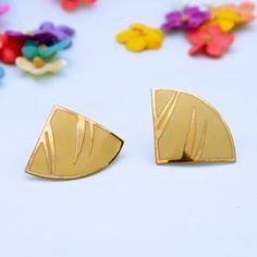 80's yellow geometric earrings
