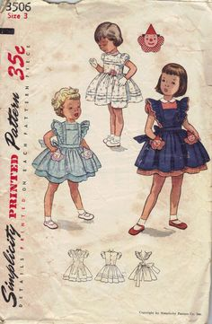 Simplicity 1950s Sewing Pattern Girls Dress Full Circle Skirt Toddler Pinafore Apron Ruffles Clown Transfer Applique Size 3. $13.50, via Etsy.