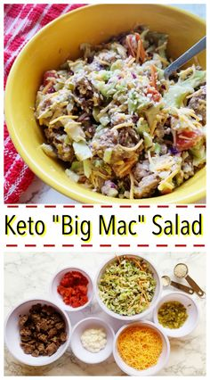 Big Mac salad - all the flavor of the sandwich in a salad. - Big Mac salad – all the flavor of the sandwich in a salad. Big Mac salad – all the flavor of the sandwich in a salad. Healthy Diet Recipes, Ketogenic Recipes, Keto Snacks, Salad Recipes, Healthy Eating, Keto Foods, Clean Eating, Keto Diet Meals, Easy Low Carb Recipes