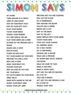 indoor activities for kids 50 Simon Says Ideas for kids. Easy ideas for toddlers and older kids! Free printable pdf included with the list of the Simon Says actions. Home Activities, Toddler Activities, Outside Activities For Kids, Physical Activities For Kids, Activities For 4 Year Olds, Preschool Movement Activities, Educational Games For Toddlers, Preschool Readiness, English Activities For Kids