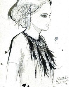 Watercolor Fashion Illustration - Chanel Haute Couture print. $25.00, via Etsy.
