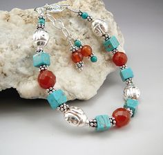 Carnelian and Turquoise Magnesite Bracelet by TouchOfSilver, $31.00