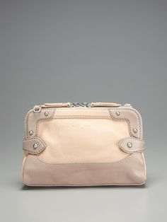 Foley + Corinna Handbag - Ivory Leather with a double zipper.