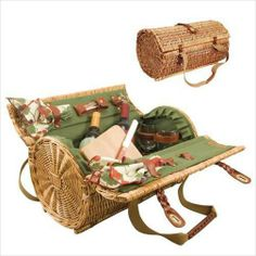 WILLOW PICNIC BASKET GIFT SET w/WINE STOPPER/CHEESE KNIFE/CUTTING BOARD for 2