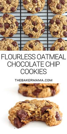 You d never believe these chewy oatmeal chocolate chip cookies are baked with no flour Yummy yum flourlesscookies cookies Healthy Sweets, Healthy Dessert Recipes, Healthy Baking, Delicious Desserts, Healthy Food, Healthy Banana Recipes, Healthy Chocolate Desserts, Vegetarian Sweets, Flourless Desserts