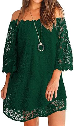 OURS Women's Casual Off Shoulder Lace Shift Loose Mini Dress with 3/4 Sleeve at Amazon Women's Clothing store