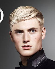 A short blonde straight coloured multi-tonal PLATINUM-BLONDE hairstyle by Wella