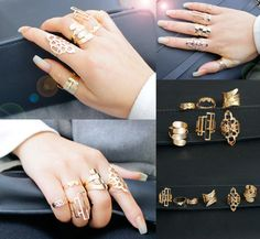 [Visit to Buy] Hot Sell gold color Fashion Pattern Ring Sets for Fashion Girls Trendy Ring for 6 Pieces with Different Pattern women Jewelry #Advertisement