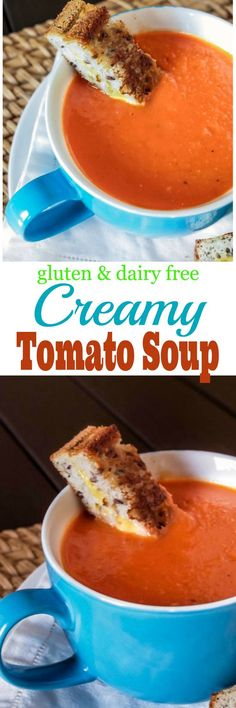 Warm up on those cool nights with this easy Creamy Gluten Free and Dairy Free Tomato Soup quick diet dairy free Dairy Free Tomato Soup, Gluten Free Soup, Gluten Free Cooking, Gluten Free Desserts, Gf Recipes, Dairy Free Recipes, Soup Recipes, Cooking Recipes, Healthy Recipes