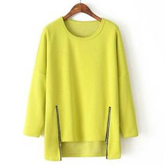 Casual Fleece Lined Solid Color Long Sleeve High-Low Sweatshirt For Women