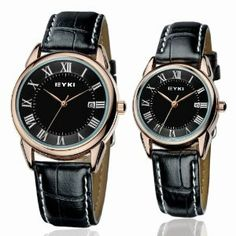 Black Golden Roma Numbers Dial Pair Watch Of Eyki Brand Real Calendar Male Women'S Christmas Gift Items 2Pcs