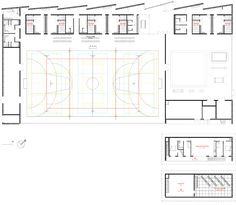 04-Strasbourg-Robert-RDC-batiment Strasbourg, Sports Stadium, Sports Complex, Sports Clubs, School Architecture, Gymnastics, Floor Plans, How To Plan, Architecture