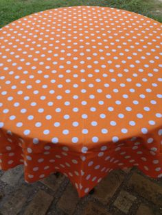 "60"" Orange With White Polka Dot Round Table Cloth"