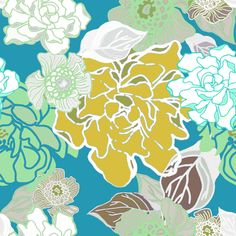 Blossoms Modern Turquoise fabric by art_is_us on Spoonflower - custom fabric