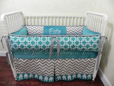Custom Crib Bedding Set Eastin - Gray Chevron and Teal Baby Bedding This is PERFECT for my teal nursery-wouldn't want monogramming or elephants though.