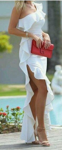 Simple Long Sleeveless,One Shoulder ,White Chiffon Evening Dress,Elegant Prom Dresses,High slit Prom Dresses - Robes 01 Elegant Prom Dresses, Chiffon Evening Dresses, Cheap Prom Dresses, Trendy Dresses, Sexy Dresses, Evening Gowns, Beautiful Dresses, Nice Dresses, Dress Outfits