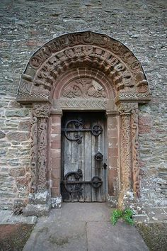 Notice the distinct Celtic carvings on the door of Kilpeck Church in the depths of Welsh speaking Herefordshire.